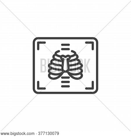 Chest X-ray Line Icon. Linear Style Sign For Mobile Concept And Web Design. Medical X Ray Outline Ve