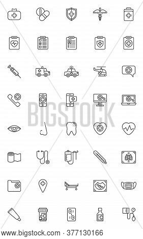 Healthcare And Medical Line Icons Set. Linear Style Symbols Collection, Outline Signs Pack. Vector G