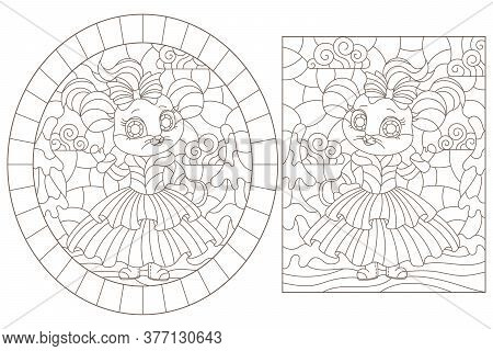 Set Of Contour Illustrations In Stained Glass Style With Cute Cartoon Mice, Dark Outlines On A White