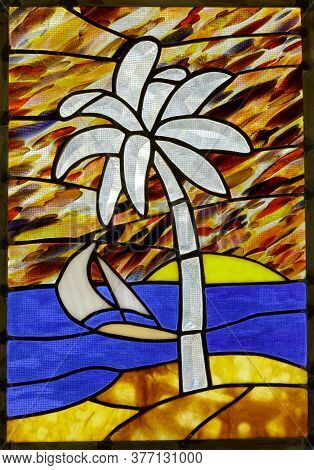 Stained Glass Window Panel Of A Tropical Beach
