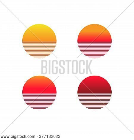 Sunset Gradient Icon Set. Illustration Of Sun In Retro 80s And 90s Style. Vector On Isolated White B