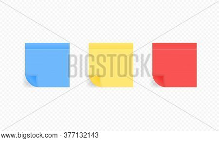 Set Of Color Sheets Of Note Papers. Realistic Sticky Notes. Reminder. Message On Notepaper. Vector E