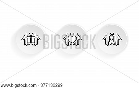 Gift, Heart, Shopping Present In Palms Line Icon Set. Holiday Presents, Shop Bag And Social Responsi