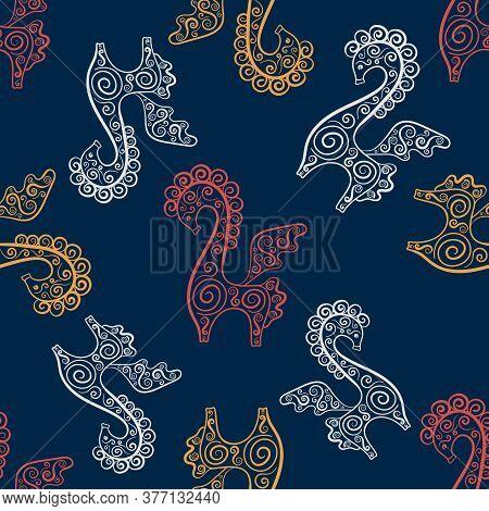 Fantastic Animal. Pegasus-winged Horse, Seamless Pattern. Ethnic Style. Ancient Greek Mythology, Eth