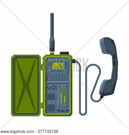 Retro Military Radio Transmitter Device, Walkie Talkie Flat Vector Illustration