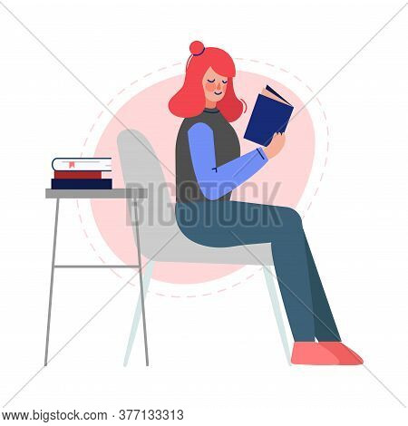 Girl Reading A Book, Female College Or University Student, Young Woman Enjoying Of Reading Literatur
