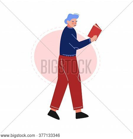 Guy Walking And Reading A Book, Male College Or University Student, Young Man Spending Spare Time By
