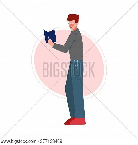 Guy Standing And Reading A Book, Male College Or University Student, Young Man Spending Spare Time B