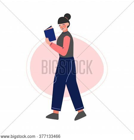 Girl Walking And Reading A Book, Female College Or University Student, Young Woman Enjoying Of Readi