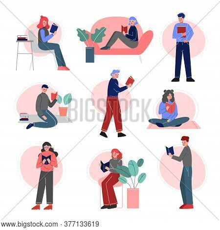 People Reading Books Set, Male And Female College Or University Students, Young Man And Woman Spendi