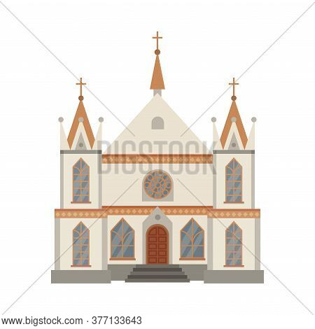 Catholic Church Religious Building, Cathedral Facade, Ancient Architectural Construction Vector Illu