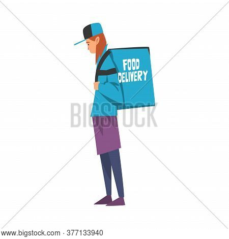 Food Delivery Guy Carrying Backpack Box, Male Courier Character Wearing Blue Uniform With Parcel On