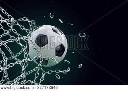 Soccer Ball Breaking Metal Net. Concept Of Football Goal, With Ball Breaking The Metal Chain Net, 3d
