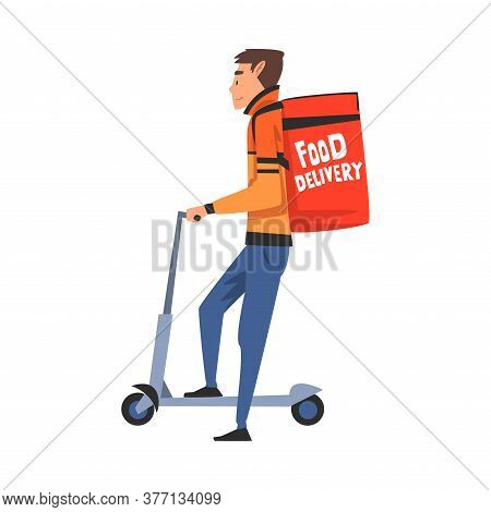 Guy On Scooter Delivering Food With Backpack Box, Male Courier Character With Parcel On His Back, Fo