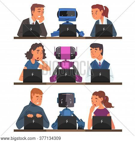 Humans Vs Robots Set, Business People And Androids Working Together With Laptop Computers, Stressed