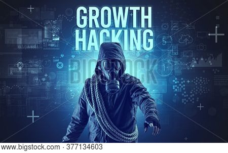 Faceless man with GROWTH HACKING inscription, online security concept