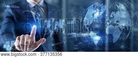 Futuristic Earth Globe Hologram And Hud Interface Panels Control Dashboard. Business Intelligence Da