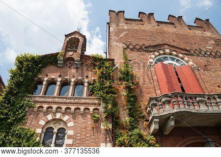 Castle Camino (castello Di Camino), Monferrato, Piedmont, Italy July 14 2012: Exterior Facade View O