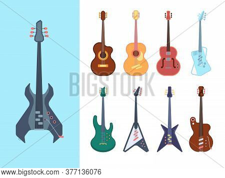 Guitars Stylish Set. Instruments Acoustic For Jazz Country And Heavy Metal Jumbo String Deck Form Re