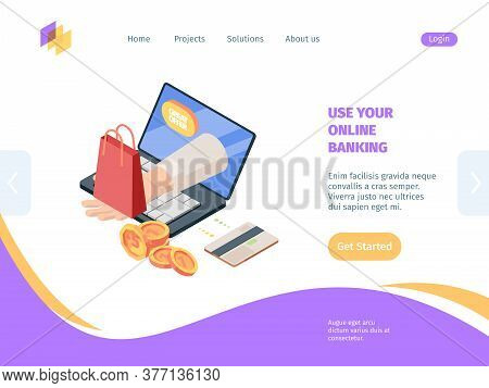 Online Shopping With Banking Isometric Homepage. Concept Electronic Commercial Technology For Sales