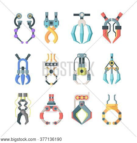 Robotic Claws Grips Large Set. Technological Mechanisms For Transfer Goods Industrial Scale Arcade G
