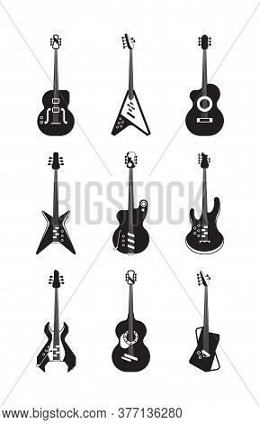 Guitars Silhouette Set. Acoustic String Instruments Retro And Modern Equipment For Rock Jazz Bands F