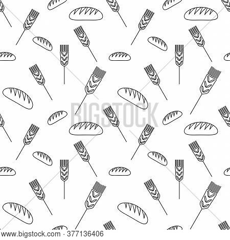Seamless Background Of Baking. The Pattern Of Bread And Ears . Template Design For Packaging Bakery