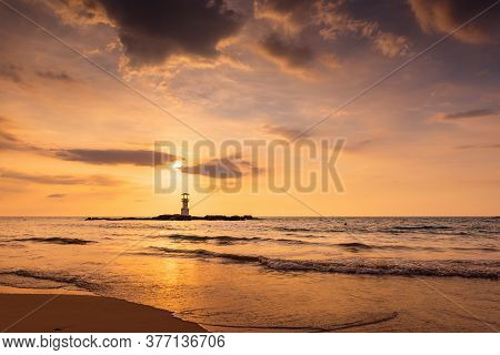 Seascape Scenery View With Lighthouse During Dramatic Cloudy At Sunset, Nature Landscape Tropical Se