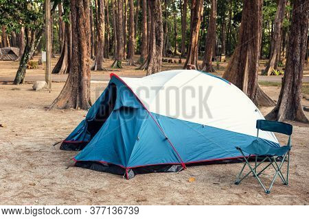Camping Tent And Resting Chair At Campsite On Nature Pine Forest Background, Family Vacation And Out