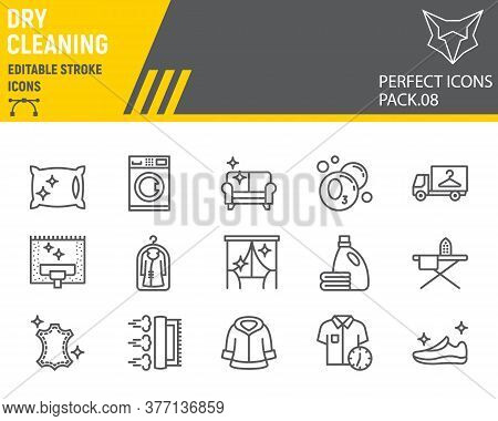 Dry Cleaning Line Icon Set, Laundry Symbols Collection, Vector Sketches, Logo Illustrations, Dry Cle