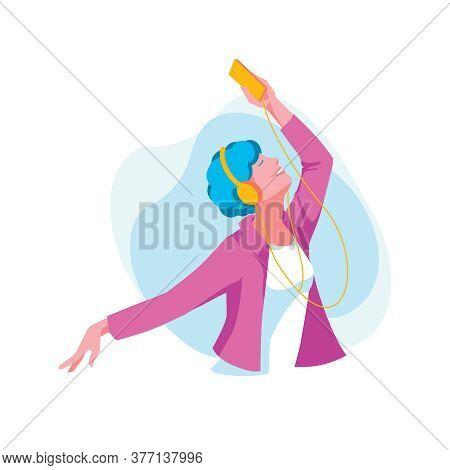 Teenage Girl Listening Music With Headphones. Happy Girl Wearing Fashionable Clothes Enjoying Of Lis