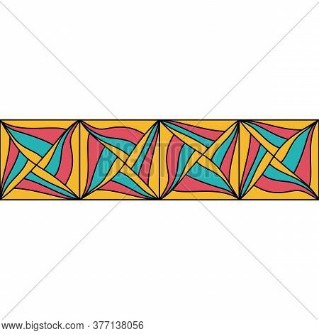 Seamless Abstract Cubes Border, Paradox. Hand Drawn Geometric Tile . Vector