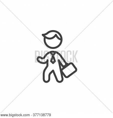 Business Man With Briefcase Line Icon. Linear Style Sign For Mobile Concept And Web Design. Man Hold