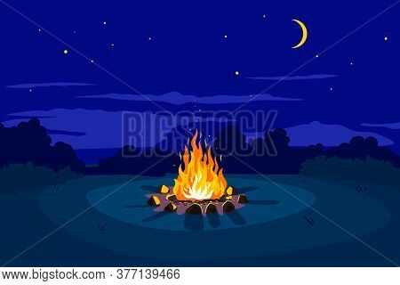 Campfire At Night On Glade And Stars On Sky With Young Moon, Place For Camping Nature Background, Ca