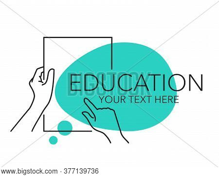 Education E-learning Or Testing Examination Banner Template - Drawn Outline Hands Holding Blank Pape