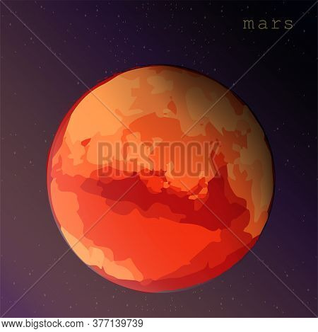 Mars Planet On Dark Purple Background Vector Illustration For Education Cards Books Posters Astronom