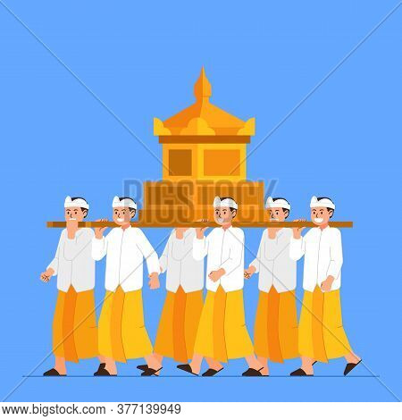 Vector Illustration Of Bali Hindu Ritual Parade To The Beach To Perform  Purification Ceremony Of Me