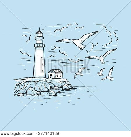 Hand Drawn Vector Sketch With Gulls, Clouds And Lighthouse. Marine Romantic Background. Design On A
