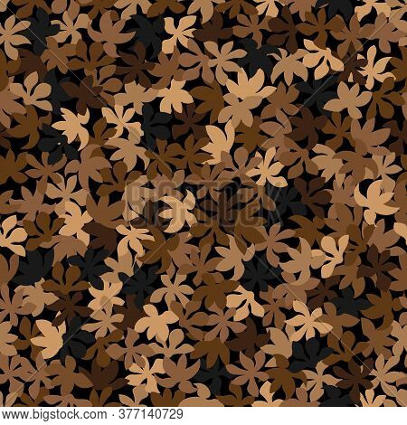 Seamless Brown And Beige Colored Leaf Pattern. Vector Vintage Autumn Texture
