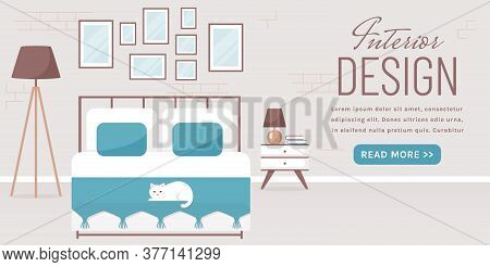 Bedroom Interior. Vector Web Banner With Place For Text. Modern Cozy Room Design With Double Bed, Be