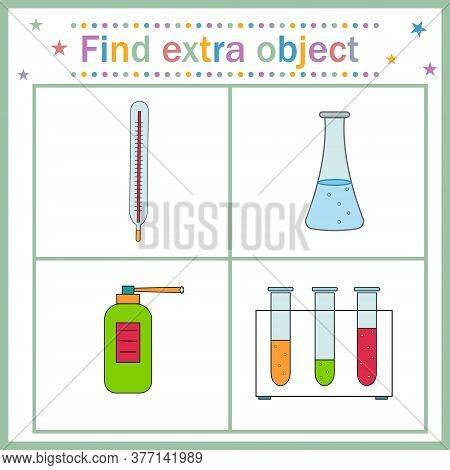 Map Game For Children's Development, Find An Extra Object Where All Objects Are Made Of Glass, Excep