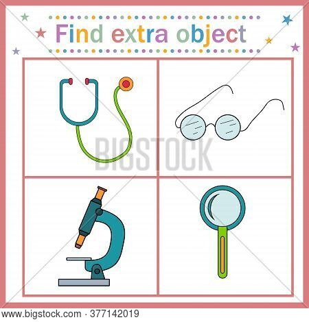 Map Game For Children's Development, Find An Extra Object Where All Objects Can Zoom In Except The S