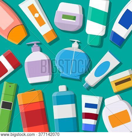 Set Of Various Color Cosmetic Bottles. Cream, Tooth Paste, Shampoo, Gel, Spray, Tube And Soap. Skin