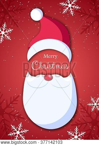 Santa Claus In Hat On Red Background. Santa Claus With White Beard And Mustache In Origami Style. Ve