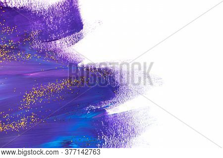 Acrylic Brush Stroke With Golden Glitter Isolated On A White Background. Creative Concept.