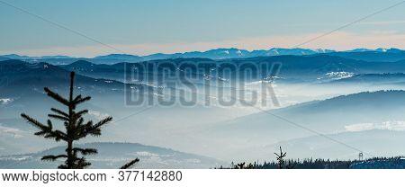 View To Nizke Tatry Mountains With Nearer Beskid Zywiecki, Oravska Magura And Velky Choc In Slovakia