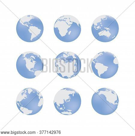 Set Of Earth Globe Blue Signs In Various Angles Vector Illustration Isolated.