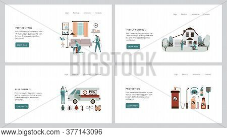 Set Of Web Interface Banners For Pest Control Service Flat Vector Illustration.