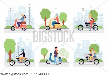 Motorcycle Riders In The City Streets. A Set Of Vector Illustrations