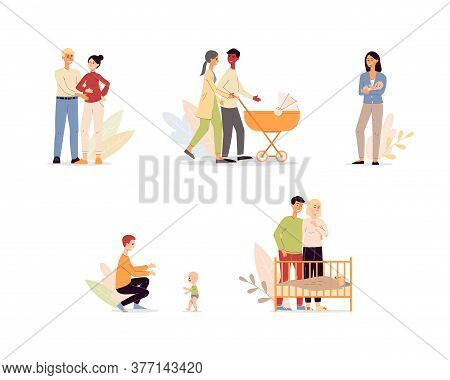 Maternity And Parenthood Characters Set Flat Vector Illustration Isolated.